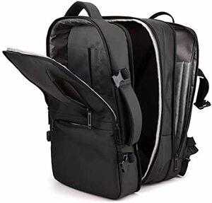 【新品】ROOCAS ビジネスリュック バッグパック ブラック 通勤 通学 旅行 出張 USBポート 大きく開く 撥水加工 耐衝撃 大容量 軽量