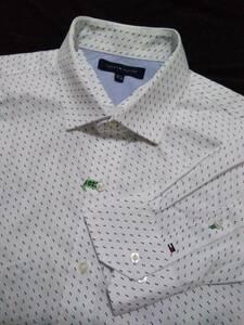 送料210円~■トミーヒルフィガー■コットン セミワイドカラー長袖シャツ/白地に小さな■模様/16-1/2