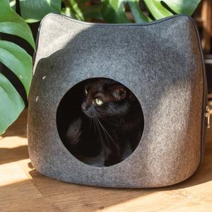 新品 猫好き フェルト AT11369 おしゃれ ジッパー 寝室 クッション付き リビング 猫型ベッド 可愛い ペッGT55