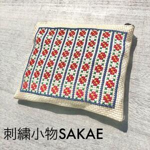 ハンドメイド手縫い刺繍花柄ポーチ 母子手帳ケース 通帳ケース ピンク