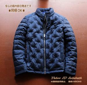 新品■欧州Hieika52紺 高品質ダックダウン90% ダウンジャケットL~XL◆メンズ 軽量ドット刺繍プレス ライト ダウン ジャケット NAVY
