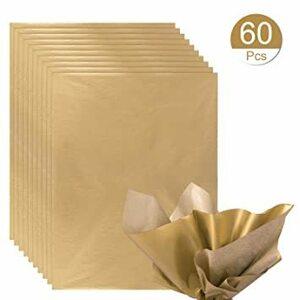 ゴールド NALER ラッピング ペーパー ゴールド ギフトプレゼント 包装紙 38x50cm 薄葉紙 約60枚入れ