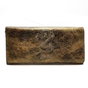 送料無料 ジャンポールゴルチエ Jean Paul GAULTIER 長財布 二つ折り 龍 竜 ドラゴンモチーフ 金 ゴールド系 メンズ