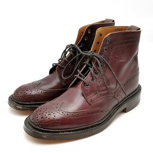 送料無料 トリッカーズ TRICKER'S カントリーブーツ 靴 シューズ ウィングチップ レザー 本革 5 1/2 23.5cm相当 赤茶系 レディース