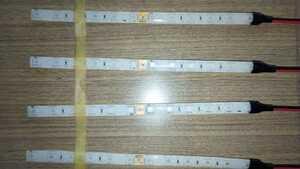 ≪即納≫24V 高輝度SMD LEDテープ20㎝×4本セット〈グリーン〉両面テープ付き