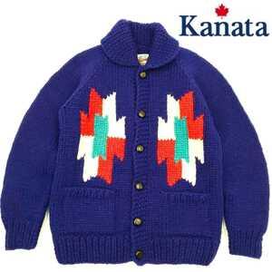 ネイティブ柄◆Kanata◆カナダ製カウチンセーター最高級ニットメンズMカナタ紫ウールジャケットカーディガンオルテガくるみボタン