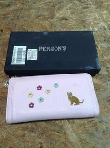 w211015-046A5 PERSON'S ラウンドファスナー 長財布 ピンク ゴールド 猫 花柄 未使用 箱、タグ付 ラウンドジップ 財布