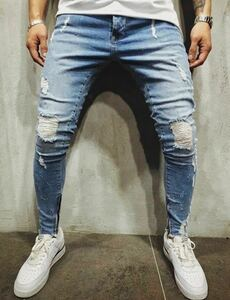 ダメージスキニージーンズ ジョガーパンツ ボトムス デニムパンツ メンズジーンズ L M ブルー