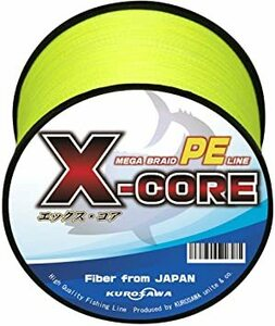 ビビットイエロー 200m(4編) 5号(60lb/27.2kg) KUROSAWA PEライン 釣り糸 X-CORE 4編・8