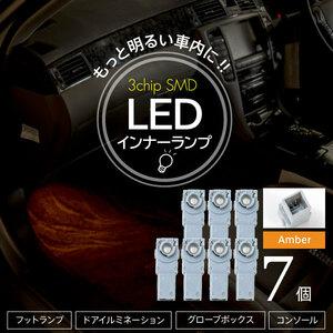 レクサス LS600h/LS600hL UVF4# 後期 インナーランプ 3chip SMD LEDライト フットライト コンソール グローブボックス アンバー 7個