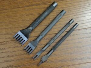 菱目打ち 4本セット(1, 2, 4, 6本目) レザークラフト 工具 黒色 (4mm)