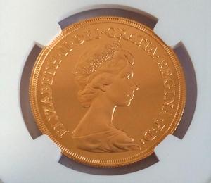 1980年 イギリス5ポンド金貨 ヤングエリザベスNGC PF69 ULTRA CAMEO