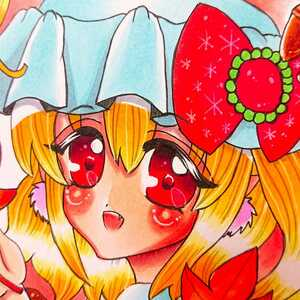 """Self-made hand drawn illustration ☆ Small paper ☆ Flandre · Scarlet ☆ """"autumn"""" ☆ Toho project ☆ Mini colored paper"""
