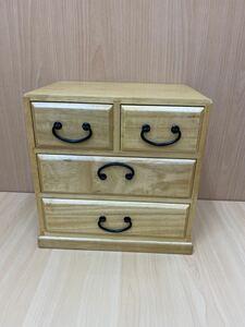 ◆《未使用保管品》総桐四ッ引タンス 桐箪笥 小引き出し 小物入れ 木製 和家具 昭和レトロ ミニサイズ