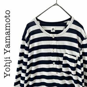 【送料無料】YOHJI YAMAMOTO ヨウジヤマモト ロング丈 Tシャツ レイヤード ボーダー ハーフボタン メンズ ポケット y's ワイズ