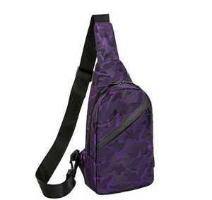 パープル 紫 カモフラージュ オシャレ USBポート ボディバッグ ワンショルダー 斜め掛け メンズボディバッグ