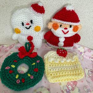 かぎ針編み、アクリル毛糸のエコたわし4点セット クリスマスバージョン サンタ.スノーマン.リース.ケーキ 手編みのハンドメイド品