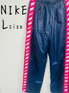 NIKE ナイキ ジャージ パンツ メンズ Lサイズ ネイビー×ピンクライン