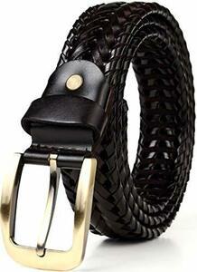 新品ブラック JINSELF ベルト メンズ 【A級本革】 レザー 革 バックル カジュアル ビジネス 編み込み メXNVZ