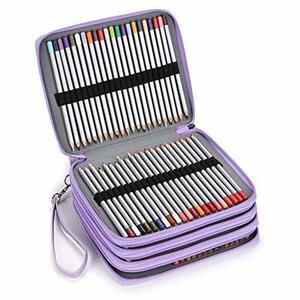 新品パープル Sumnacon 160本入れ 色鉛筆ケース PUケース ペンシルホルダー 色鉛筆 収納 筆箱 大容量8W8I