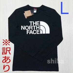 【訳あり】THE NORTH FACE ノースフェイス 長袖 ロンT ロング tシャツ ブラック 黒 スタンダード 海外Lサイズ