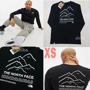 THE NORTH FACE ノースフェイス 長袖 ロンT ロング tシャツ 黒 ブラック ピークス Peaks 海外XSサイズ