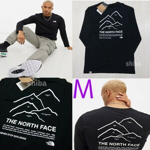 THE NORTH FACE ノースフェイス 長袖 ロンT ロング tシャツ 黒 ブラック ピークス Peaks 海外Mサイズ