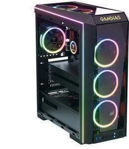 【デザイン統一】GAMDIAS TALOS P1A E-ATXガラスミドルタワーケース & CHIONE P2-360R 360mm簡易水冷クーラーセット【1円スタート】