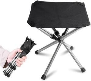 KVASSアウトドアチェア 折りたたみ椅子 軽量 コンパクト キャンプ イス 4脚伸縮 耐荷重100kg 収納バッグ付き 釣り 黒