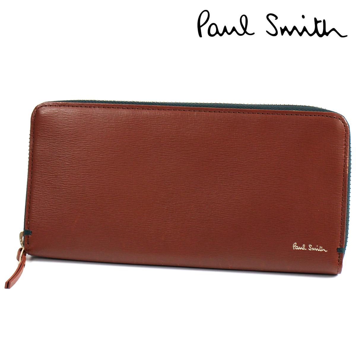 新品 ポールスミス 財布 長財布 メンズ ラウンドファスナー Paul Smith カラーコンビパルメラート ウォレット メンズ 紳士 訳あり ◆PSK25A