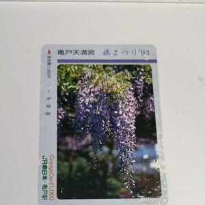オレンジカード  藤まつり 亀戸天満宮 93年 JR東日本 亀戸駅 使用済 使用済み 裏面汚れあり