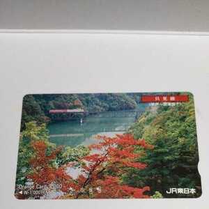 オレンジカード 只見線 早戸~会津宮下 JR東日本 使用済 使用済み 紅葉 もみじ 美品