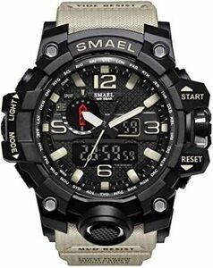ベージュ 腕時計 メンズ SMAEL腕時計 メンズウォッチ 防水 スポーツウォッチ アナログ表示 デジタル クオーツ