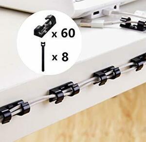(60個+マジックバンド8本) コードクリップ HIEI ケーブルクリップ 収納 配線アクセサリー pc電源コード整理用