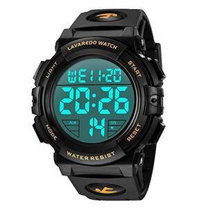 Senors 01-ゴールド 腕時計 メンズ デジタル スポーツ 50メートル防水 おしゃれ 多機能 LED表示 アウトドア