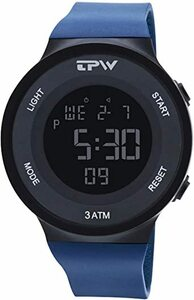 ネイビー RORIOS デジタル腕時計 メンズ 人気 レザーベルト 電子腕時計 スポーツウォッチ クォーツ アウトドア 学生 通