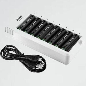 新品 目玉 急速充電池充電器セット8充電器+単三電池(2800mAh*8)セット BONAI F-3N 単三単四ニッケル水素/ニカド充電池に対応