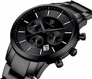 5-ブラック 腕時計 メンズ おしゃれ クロノグラフ ビジネス カジュアル 防水 多機能 アナログ腕時計 ステンレス鋼 日付表示