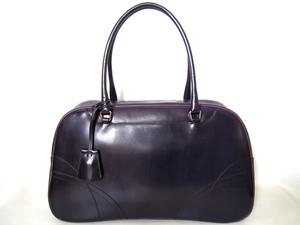 【秋セール+送料無料】 PRADA プラダ ボストンバッグ ミニボストン B11295 【本物】 紫 上質カーフ 収納力ある バッグ