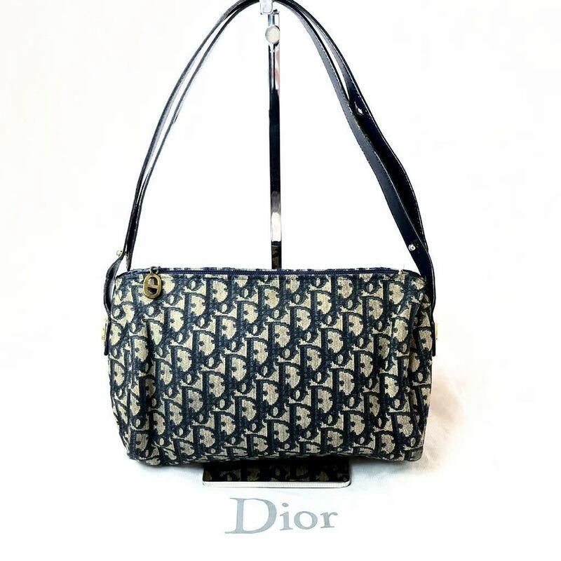 ■ 1円 スタート ■ 美品 Christian Dior クリスチャン ディオール トロッター ゴールド金具 ミニ ショルダーバッグ ハンドバッグ ネイビー