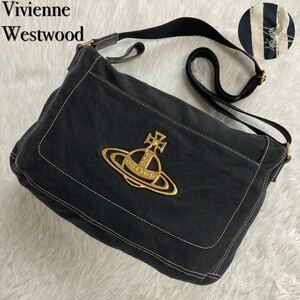 Vivienne Westwood ヴィヴィアンウエストウッド ショルダーバッグ キャンバス エッジウェア ステッチ オーブ ゴールド金具 ブラック 黒