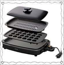 新品_アイリスオーヤマホットプレートたこ焼き焼肉平面プレート3枚網焼き蓋付きブラックAPA-137-BTKED