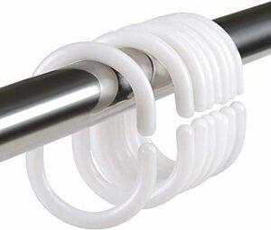 ホワイト LIHAO シャワーカーテンリング カーテンリングフック C型 内径30㎜ 錆び止め 24個入り ホワイト