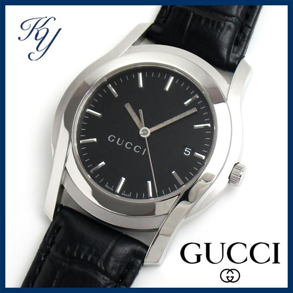 1円~ 3ヶ月保証付き 磨き済み 美品 本物 定番 人気 GUCCI グッチ 5500M XL ラージサイズ 革ベルト ブラック メンズ 時計