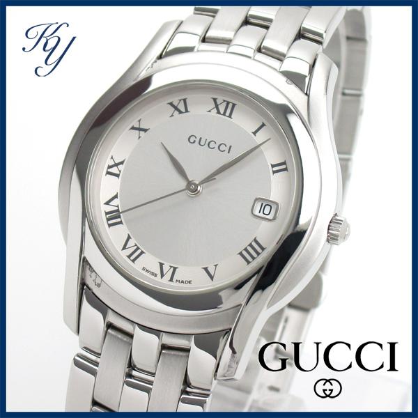 1円~ 3ヶ月保証付き 磨き済み 美品 本物 定番 人気 GUCCI グッチ 5500M シルバー メンズ 時計