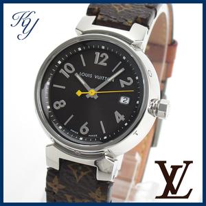1円~ 3ヶ月保証付き 磨き済み 美品 本物 定番 人気 LOUIS VUITTON ヴィトン タンブール Q1211 革ベルト レディース 時計