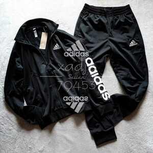 新品 正規品 adidas アディダス 上下セット ジャージ パンツ セットアップ 黒 ブラック 白 ロゴプリント O ( XL )