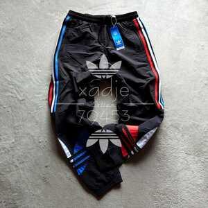 新品 正規品 adidas originals アディダス オリジナルス ナイロンパンツ ビッグトレフォイル 黒 赤 青 白 トリコロール 刺繍 M