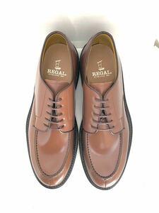 管理178 定価2.3万 新品 リーガル 26.5㎝ REGAL ビジネス シューズ メンズ 革靴レザー 未使用 送料無料 Uチップカジュアル ブラウン 日本製
