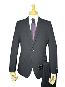 22132-21-A5 春夏 洗える ストレッチ スーツ 2ツボタン ノータック 超スリム 紺 ネイビー チェック メンズ ビジネス